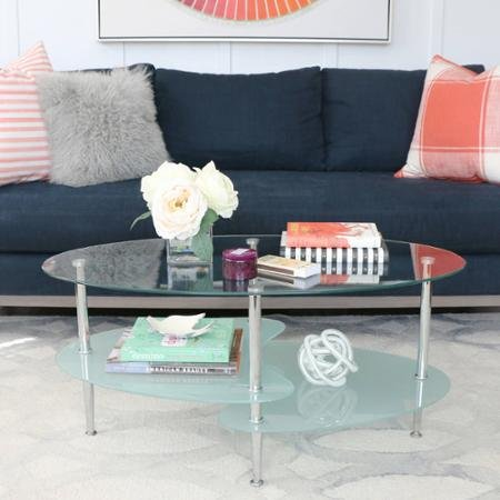 Wave Oval Glass 2-Tier Coffee Table, Durable Foundation For Your Morning (Wave Oval Coffee Table)