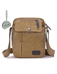 Micom Retro Multi Pockets Canvas Shoulder Bags Messenger Crossbody Purse for Men,boys