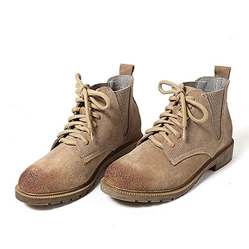 ZHZNVX HSXZ Zapatos de Mujer Otoño Invierno Gamuza Cuero Confort Botas Botas de Combate Chunky Talón Botines/Botines Casual de Color Marrón, Marrón y Negro US7.5/UE38/UK5.5/CN38 38 EU