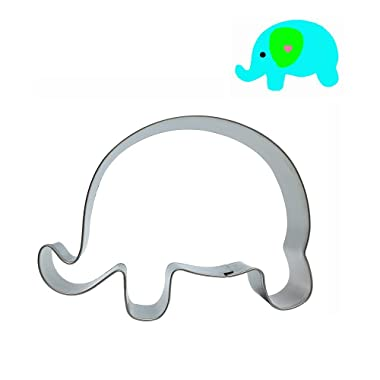 Mziart Lovely Animal Shape Stainless Steel Cookie Cutter Fondant Cutter Metal Cookie Molds Press (Elephant)