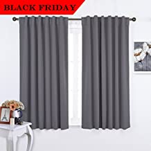 NICETOWN Rod Pocket Curtains / Drapes - Set of Two (2) Thermal Insulated Light Reducing Back Tab Blackout Curtain Panels / Draperies For Bedroom (52 Inch x 63 Inch Grey)