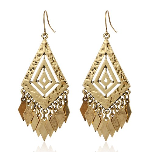 [Ancient Gold Silver Plated Hollow Geometric Leaves Tassel Dangle Earring (Gold)] (Gold Dangle Earrings)