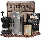 Cheap Cold Brew Coffee Starter Kit – Half Gal Mason Jar | Stainless Filter Basket | Ceramic Burr Coffee Grinder | Half Pound Certified Organic Whole Bean Cold Brew Coffee Blend | 130pg 60+ Recipe & Instruction Book
