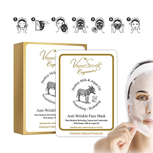 Venus Secrets Natural Face Mask Sheets | Anti Ageing Facial Skincare & Pore Minimizer - Acne Scar Treatment & Blackhead Remover | with Donkey Milk & Argan ...