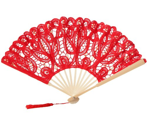 The 1 For U Women's Victorian Lace Fan Red