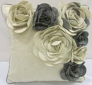 Estupendo Lana Escocés Irlandés Tartán Crema Gris Apliques Bordado 18 cm Cojín Relleno