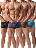 Men's Boxers Sexy Underwear Mesh Breathable Gay Low Rise Boxer Briefs(36Hei,XL)