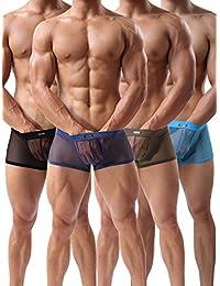 Forest Men's Sexy Underwear Mesh Breathable Boxer Briefs Cool Briefs Pack