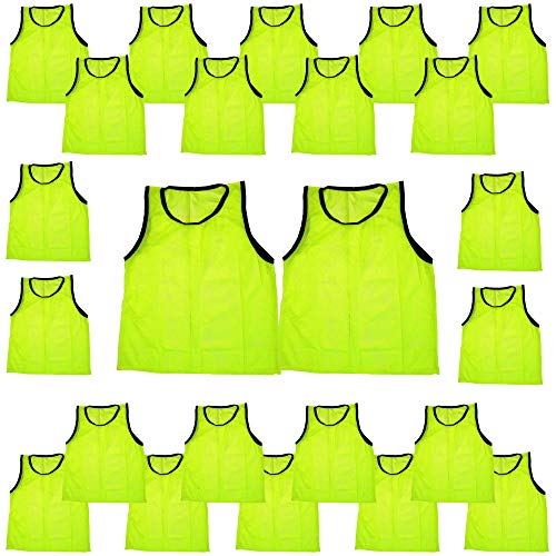(BlueDot Trading Youth Sports Pinnie Scrimmage Training Vest, Yellow, 24 Pack)