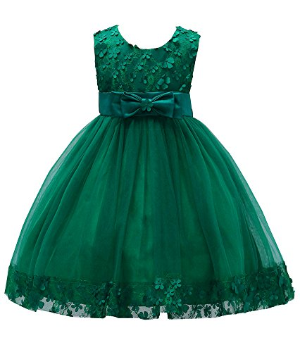 Big Girl Dresses Formal Wedding Christmas Girl Dresses Size 7 A Line Princess Pageant Elegant Tulle Gowns Pageant Dresses for Girls Size Sleeveless Lace Flower Girl Sundress (Dark Green, 10)