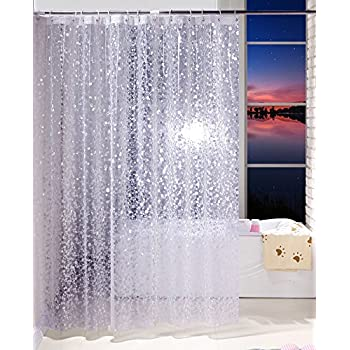 Aoohome 36x72 Inch Shower Curtain Liner Mildew Resistant EVA 3D Cobblestone Pattern With Bottom