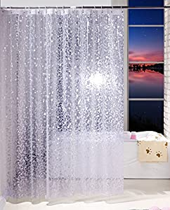 Ufriday EVA Shower Curtain Unique Pebbles Pattern Water Repellent And Mildew Free With Metal Grommets Decorative Bathroom Liner Of PVC