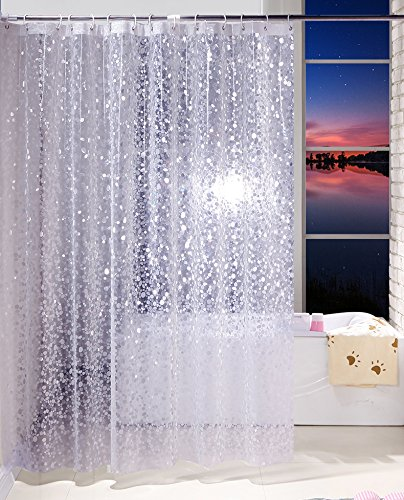 Ufriday EVA Shower Curtain Unique Pebbles Pattern Water-Repellent and Mildew-Free with Metal Grommets, Decorative Bathroom Curtain Liner Free of PVC, Semi-Transparent, Standard Size, 72