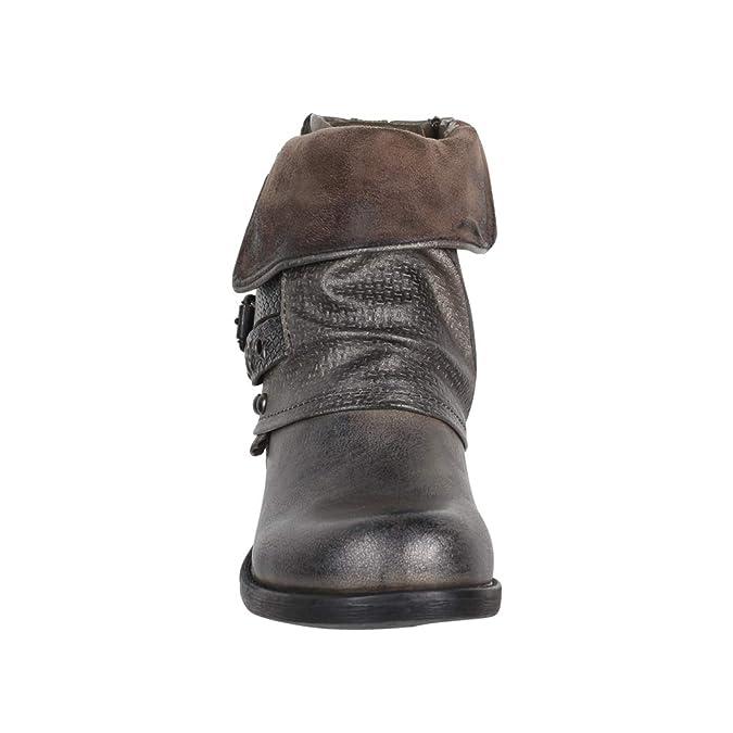 dbbc4b79 Elara - Botas Estilo Motero de Sintético Mujer, Color Gris, Talla 39 EU:  Amazon.es: Zapatos y complementos