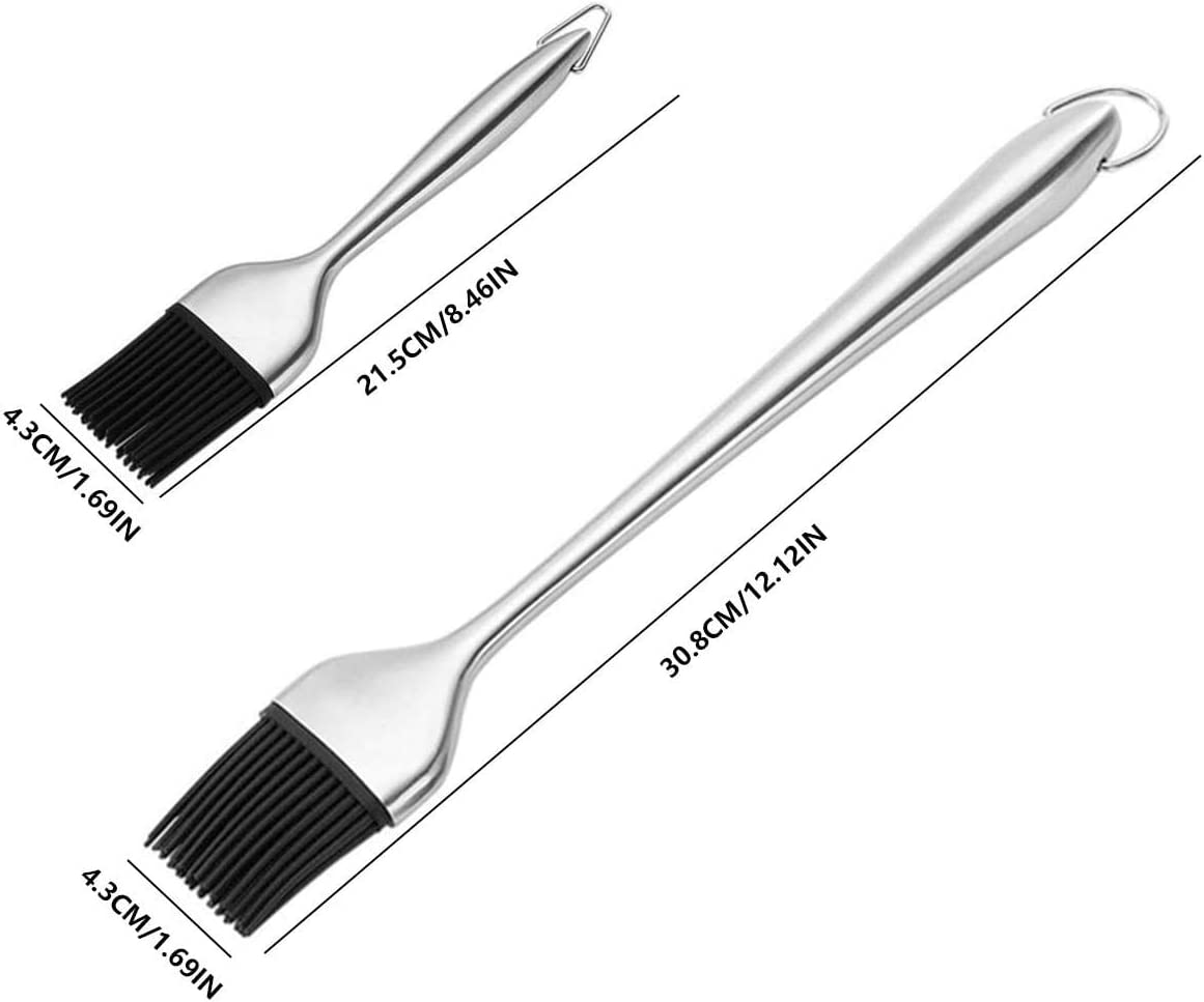 Pastry and Oil Stainless Steel Brushes for Kitchen Cooking /& Marinating-7.8//12 in Grilling BBQ Baking 2 Pieces Basting Brush