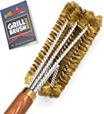 Grillaholics Pro Brass Grill Brush - Softer Brass Bristle Wire Grill Brush for Safely Cleaning Porcelain and Ceramic Grates - Lifetime Manufacturer's Warranty