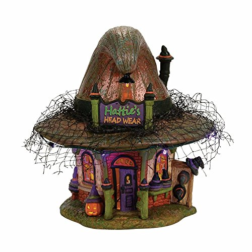 Department 56 Village Halloween Hattie's Hat Shop Lit House -