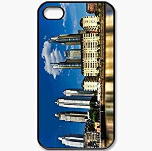 Protective Case Back Cover For iPhone 4 4S Case Buenos Aires Skyscrapers Gold Hotel Blue Sky Water Black