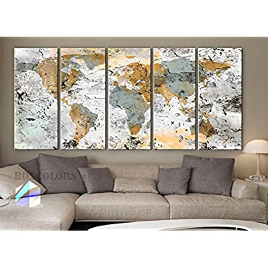Xlarge 30 x 70  5 Panels 30x14 Ea Art Canvas Print World Map Original Design Watercolor Texture Old Wall Home Decor Interior (Framed 1.5  Depth)