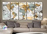 Xlarge 30″x 70″ 5 Panels 30×14 Ea Art Canvas Print World Map Original Design Watercolor Texture Old Wall Home Decor Interior (Framed 1.5″ Depth) Picture