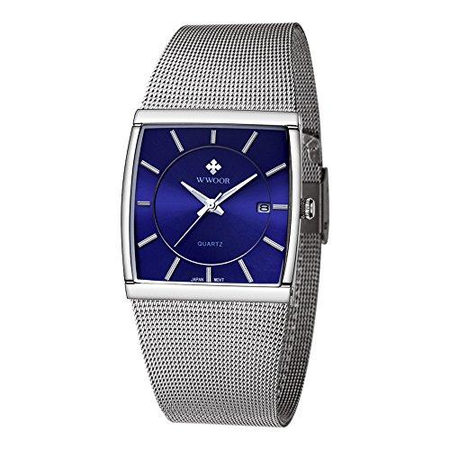 Wwoor Stainless Steel Mesh Band Analog Quartz Date Dress Watch Waterproof Luminous Square Watches - Germany Band Glasses