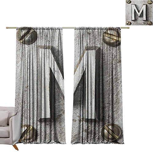 Bedroom Curtains Letter M,Zinc Iron Steel Alphabet Typeset with Grunge Scratched Texture Industrial Image, Silver Gold W84 x L84 Printed Window Curtains for Kitchen ()