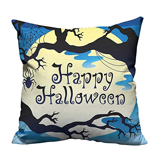YouXianHome Print Bed Pillowcases Happy Halloween Quote Spooky Night Moon and Branches Shadows Haunted Lights YEL Washable and Hypoallergenic(Double-Sided Printing) 20x20 inch ()