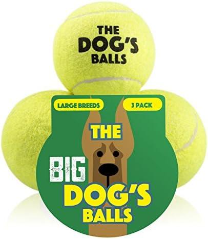 El gran perro de bolas, 3 pelotas de tenis de perro (tamaño grande ...