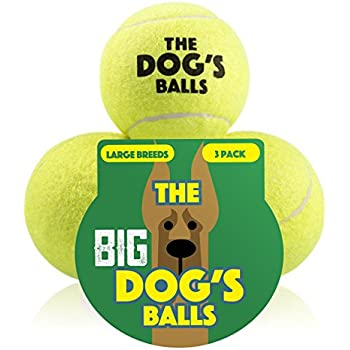 The Dog's Balls 3 Large Yellow Tennis Balls, Premium, Strong Dog Toy Ball for Dog Fetch and Play, Large Dogs Balls, Too Big for Chuck it Launchers, the King Kong of Dog Balls