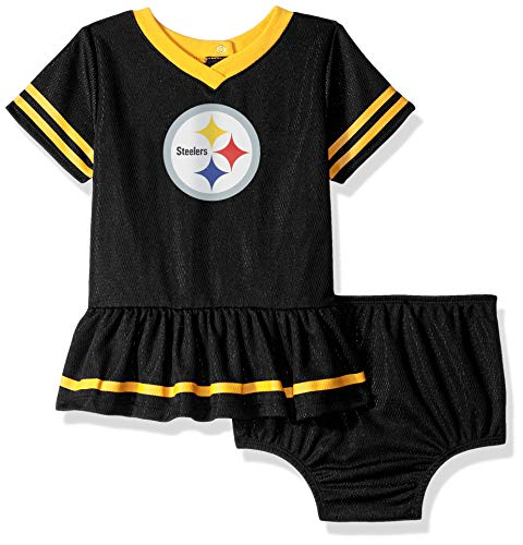 NFL Pittsburgh Steelers Baby-Girls 2-Piece Football Dress Set, Black, 3-6 Months