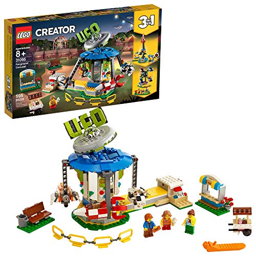 LEGO Creator 3in1 Fairground Carousel 31095 Building Kit, New 2019 (595 Pieces) (Lego Ferris Wheel)