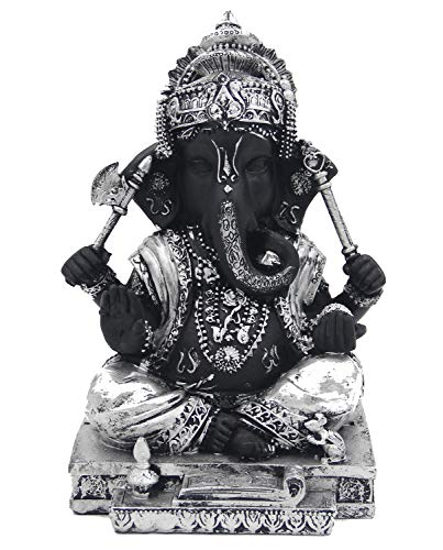 DharmaObjects Ganesh Ganesha Hindu Elephant God of Success Cold Cast Resin Statue (Silver, 7 Inches)