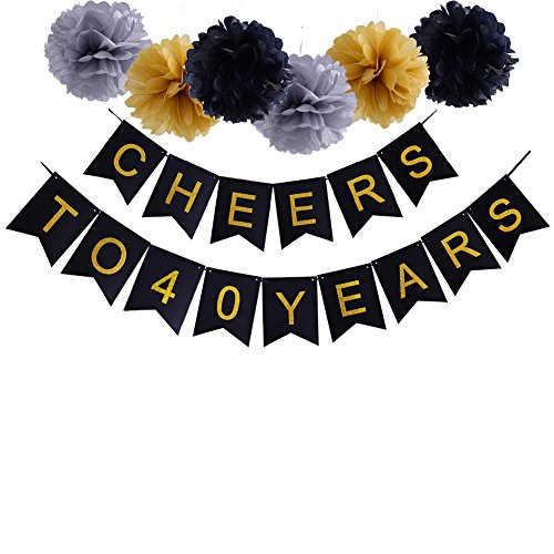 Happy 40th Birthday Cheers to 40 Years Banner For 40th Wedding Anniversary Party Decorations (Decorations For Wedding Anniversary Party)