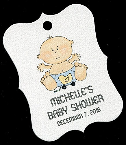 Personalized Baby Boy Shower Favor Tags Large, Baby With Ducky (Ducky Party Favors Baby Shower)
