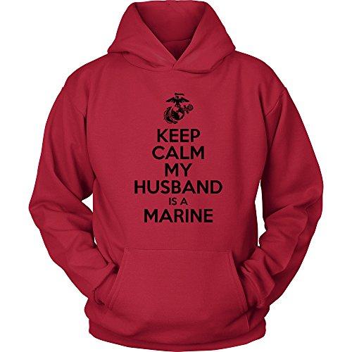 Egoteest USMC Hoodie - Keep Calm My Husband Is a Marine - Marine Corps USMC Wife Hoodie - US Army Wife Shirt - My Hubby Is a Marine (Red, Medium)