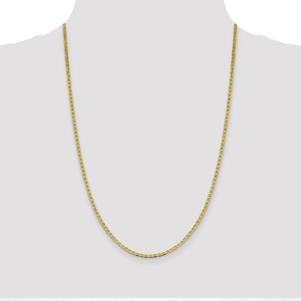 Jewel Tie 10k Yellow Gold 3mm Flat Anchor Mariner Chain