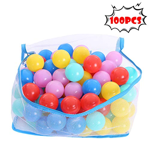 Fiudx Children's Gifts Ocean Balls 100pcs Pit Balls Soft Plastic Withstand Voltage for Ball Pit Balls Ocean Ball for Babies Kids Children Soft Plastic Birthday Parties Events Playground Games Pool