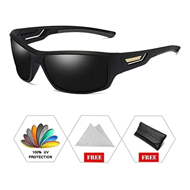 98d5ee7e588 ATNKE Fashion Sport Night Vision Polarised Sunglasses for Men Women with  TR90 Frame Hollow Lens Elegant Case Driving Cycling Designer Matte Black Grey   ...