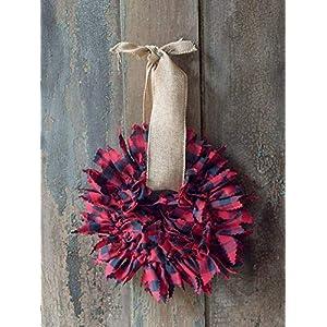 Burlap Farmhouse Wreath for the Front Door | Rustic Fall Decor | Buffalo Plaid Fabric Rags | Small 6 inch Wreath 57