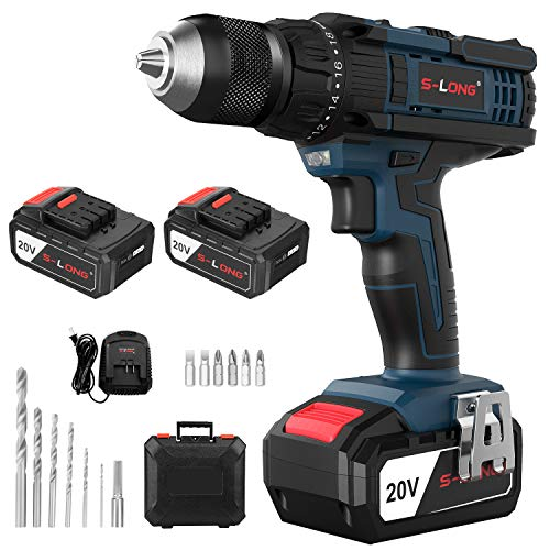 20V Cordless Drill with 2 Batteries and Charger,1/2 Inch Cordless Drill Set,Variable Speed Drill Driver Cordless by S-LONG