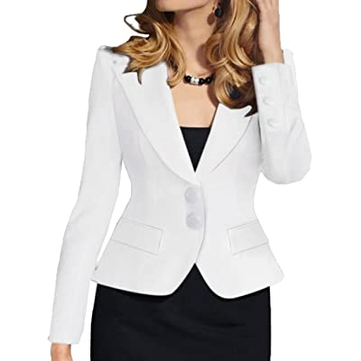Abetteric Women's Lapel Fitted Solid Color Career Sexy 2 Button Suit