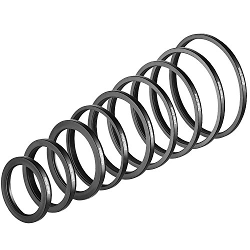 Neewer 9 Pieces Step-down Lens Filter Adapter Rings Set, Made of Premium Anodized Aluminum, Includes: 82-77mm, 77-72mm, 72-67mm, 67-62mm, 62-58mm, 58-55mm, 55-52mm, 52-49mm, ()