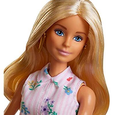 ​Barbie Fashionistas Doll with Long Blonde Hair, Wearing Shirt Dress and Accessories, for 3 to 8 Year Olds: Toys & Games