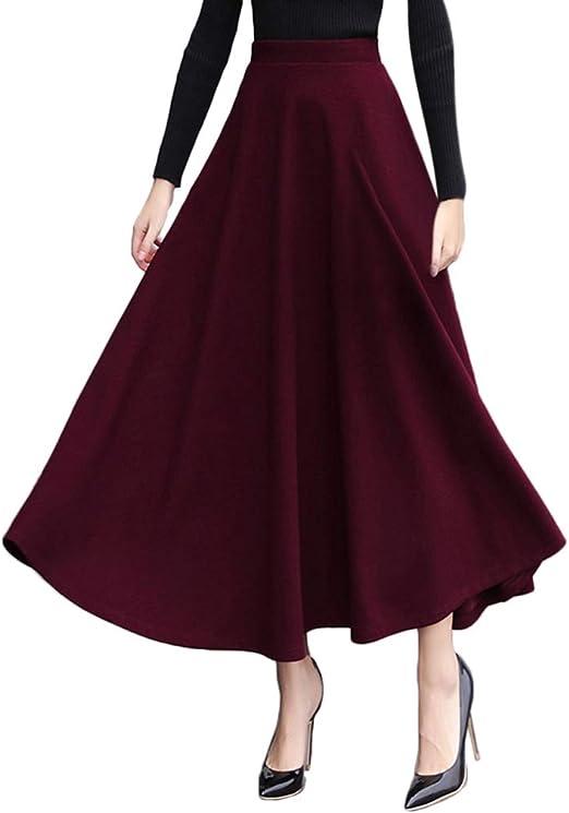 Vxhohdoxs Falda larga de lana sintética para mujer, color liso ...