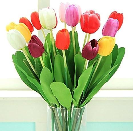 ... flores artificiales de seda de la alta calidad de la PU de mini Holanda Impresionante flor del tulipán verdadero toque de flores de la boda para la sala ...