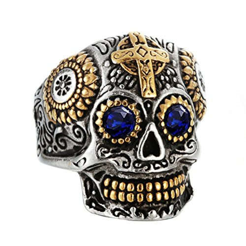 INRENG Men's Stainless Steel Silver Gold Gothic Cross Skull Ring Blue Eye Vintage Flower Carved Halloween Blue CZ Stone Size 7