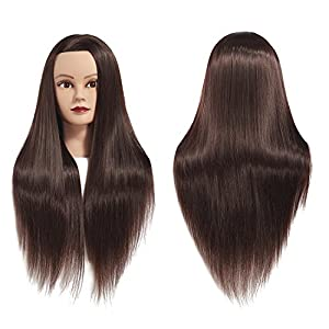 Training Head 26″-28″ Female Mannequin Head Hair Styling Manikin Cosmetology Doll Head Long Hair Synthetic Fiber Hair Hairdressing Training Model Free Clamp (1711LB0220)