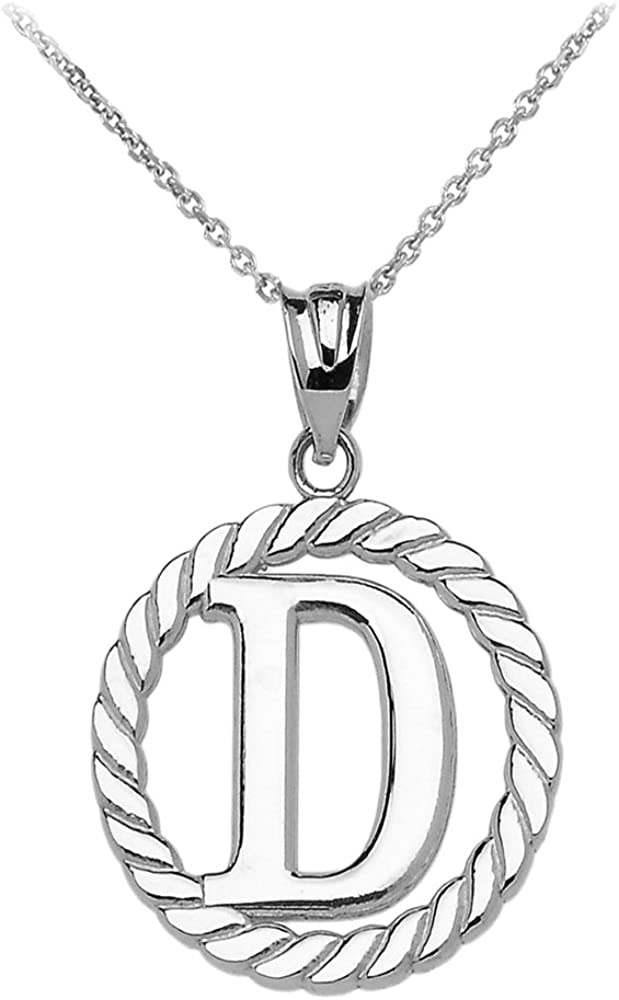 High Polish 925 Sterling Silver Roped Circle O Initial Pendant Necklace