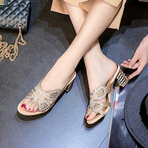 Chaussures on Slip Toe Robe Femmes Slide Sexy Mules Sandales d'été Abricot Brut Talon Ouvertes Pompes Strass Creux CwHwqZ