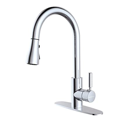 Houtingmaan Single Lever Kitchen Faucet With 10 Deck Plate Kitchen Faucets With Pull Down Sprayer 3 Functions Cupc Nsf Certified Chrome Plated